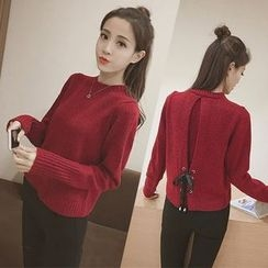 Bloombloom - Lace-Up Back Sweater