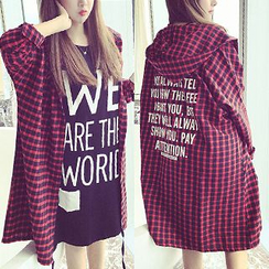 Bloombloom - Hooded Plaid Oversized Shirt