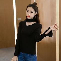 Bloombloom - Cutout Slit Cuff Sweater
