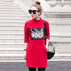 lilygirl - Lettering Sequined Pullover Dress