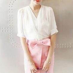 Chika - Short-Sleeve V-Neck Chiffon Blouse