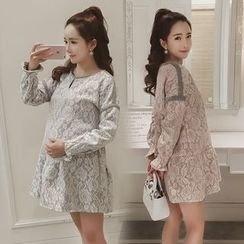 Ceres - Maternity Lace Long-Sleeve Dress