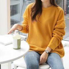 Seoul Fashion - Round-Neck Long-Sleeve Knit Top