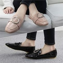 Reneve - Square-Toe Hoop-Accent Patent Loafers