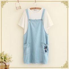 Fairyland - Embroidered Denim Jumper Skirt
