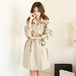 Koo - Double-Breasted Trench Coat with Belt