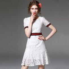 Y:Q - Lace Short-Sleeve Dress