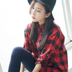 BAIMOMO - 扣带袖格子衬衫