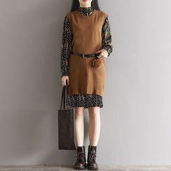 Clover Dream - Set: Patterned Long Sleeve Dress + Knit Vest