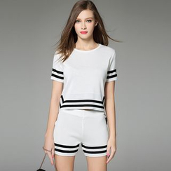 Y:Q - Set: Stripe Knit Short-Sleeve T-Shirt + Shorts