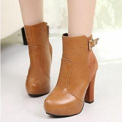 Mancienne - Buckled Paneled Heel Ankle Boots