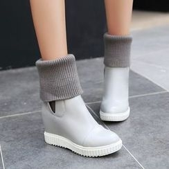 Shoes Galore - Knit Inset Hidden Wedge Short Boots