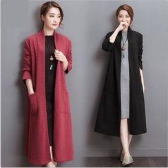 Diosa - Plain Pocketed Linen Blend Jacket
