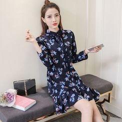 Sienne - Floral Print Ruffle Hem Chiffon Shirtdress