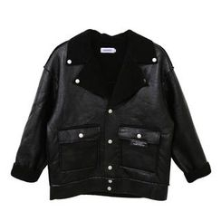 Mr. Cai - Faux-Leather Notched-Lapel Buttoned Jacket