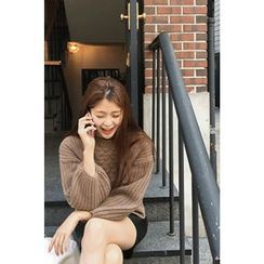 CHERRYKOKO - Balloon-Sleeve Wool Blend Cable-Knit Sweater