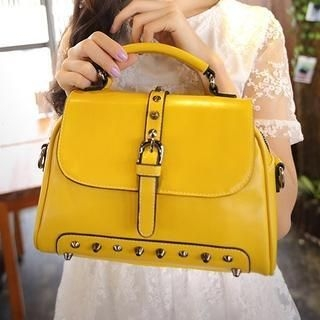Youshine - Studded Belted Satchel with Strap