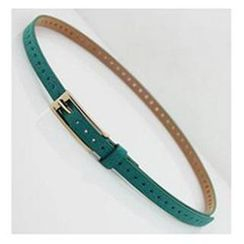 Charm n Style - Cross Perforated Genuine Leather Slim Belt