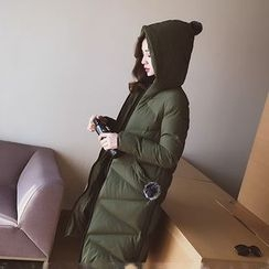 Cocofield - Pompom Hooded Long Padded Jacket