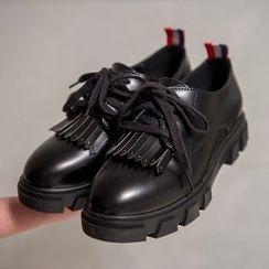 Mancienne - Genuine-Leather Fringe-Trim Lace-Up Shoes