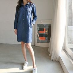 Hello sweety - Half-Placket Denim Shirtdress