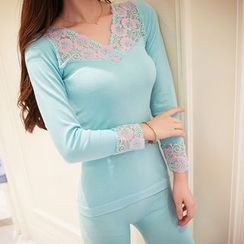HYG Lingerie - Set: Lace Panel Long-Sleeve Top + Leggings
