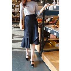 CHERRYKOKO - Ruffle-Hem Pinstripe Midi Wrap Skirt