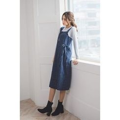 migunstyle - Wrap-Front Checked Suspender Dress
