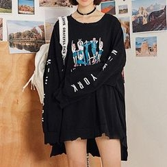 Heynew - Print Distressed Pullover