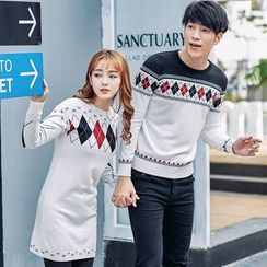 Igsoo - Couple Matching Argyle Sweater