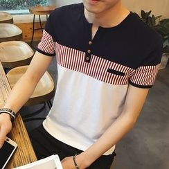 Jazzcool - Color Panel Short Sleeve Henley T-Shirt