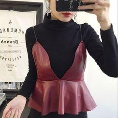 THE XIBI - 套裝: 高領T恤 + 荷葉腰帶連衣裙