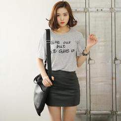 Envy Look - Slit-Back Print T-Shirt