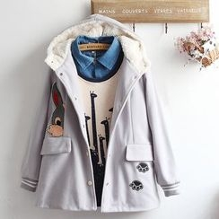 akigogo - Rabbit Applique Hooded Jacket