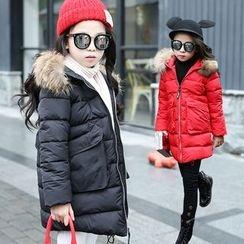 Princess House - Kids Faux Fur Trim Padded Coat