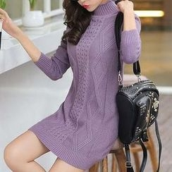 Eferu - High Neck Long Sleeve Cable Knit Dress