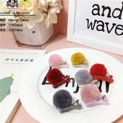 March Daisy - Kids Pompom Hair Clip