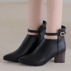 Gizmal Boots - Chunky Heel Pointy Ankle Boots