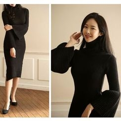 Gl.bY - Long-Sleeve High Neck Knit Midi Dress