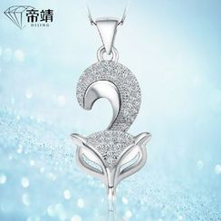 DIJING - Rhinestone Fox Pendant Sterling Silver Necklace