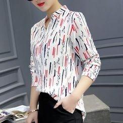 Cobogarden - Stand Collar Printed Long-Sleeve Shirt