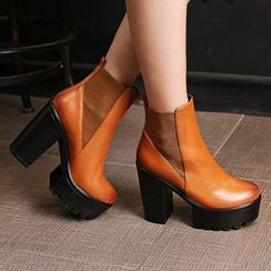 Gizmal Boots - Chunky Heel Platform Short Boots