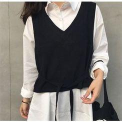 Dasim - V-Neck Tie-Waist Vest