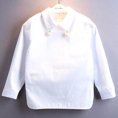 Kidora - Kids Long-Sleeve Faux Pearl Accent Shirt