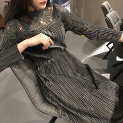 Sienne - Lace Yoke Long Sleeve Dress
