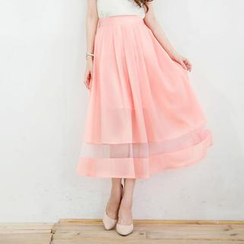 Tokyo Fashion - Sheer-Panel Pleated Maxi Skirt