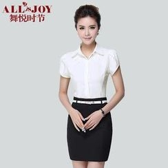 OJOY - Set: Short-Sleeve Blouse + Pencil Skirt