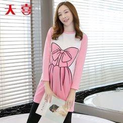 Megumi - Maternity Bow Print T-Shirt Dress