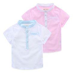 JAKids - Kids Stand Collar Half Placket Shirt