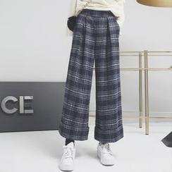 Sonne - 英伦格纹呢料九分阔腿裤